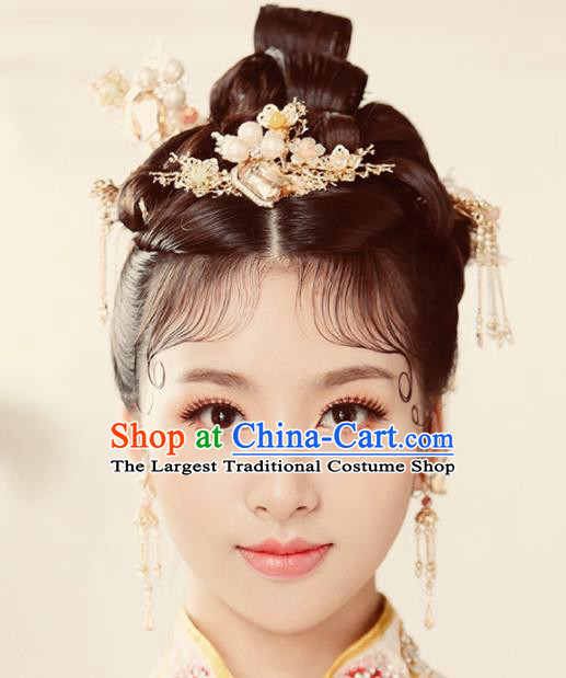 Chinese Ancient Wedding Hair Accessories Pearls Tassel Step Shake Bride Hairpins Headwear for Women