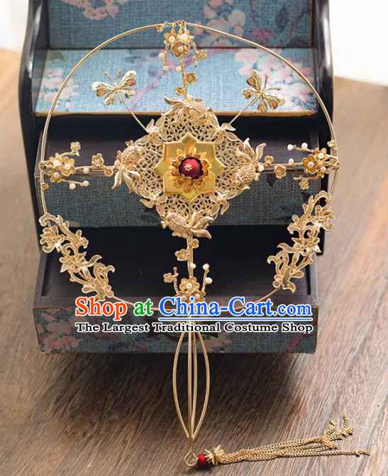 Chinese Ancient Wedding Accessories Bride Handmade Golden Palace Fans Hanfu Round Fans for Women