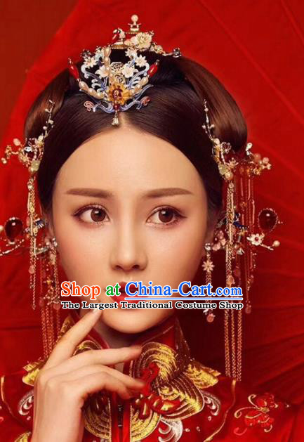 Chinese Ancient Bride Blueing Hair Crown Wedding Hair Accessories Palace Hairpins Headwear for Women