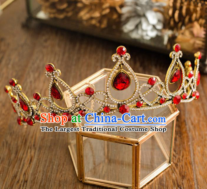 Top Grade Handmade Wedding Princess Hair Accessories Bride Red Crystal Royal Crown Headwear for Women