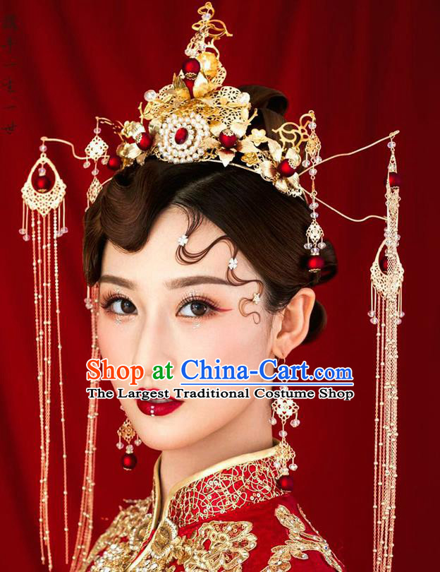 Chinese Ancient Bride Pearls Phoenix Coronet Wedding Hair Accessories Palace Hairpins Headwear for Women