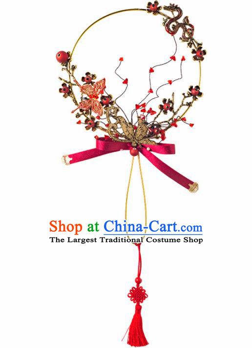 Chinese Ancient Wedding Accessories Bride Palace Fans Round Fan for Women
