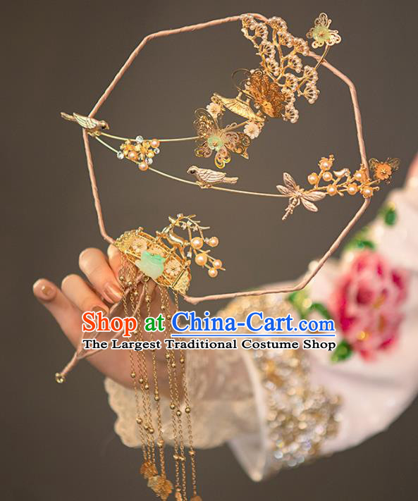 Chinese Ancient Wedding Accessories Bride Palace Fans Golden Tassel Round Fan for Women