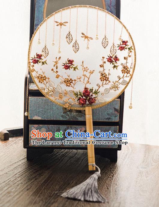 Chinese Ancient Wedding Accessories Bride Palace Fans Handmade Round Fan for Women