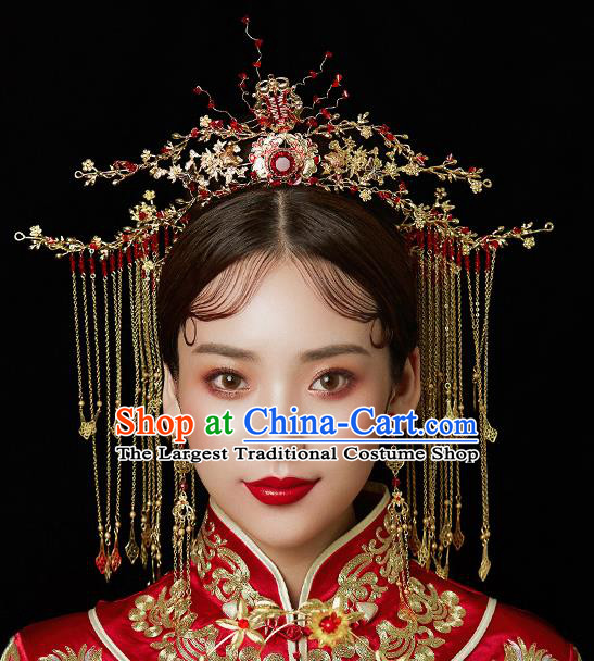 Chinese Ancient Wedding Hair Accessories Bride Red Crystal Phoenix Coronet Tassel Hairpins Headwear for Women