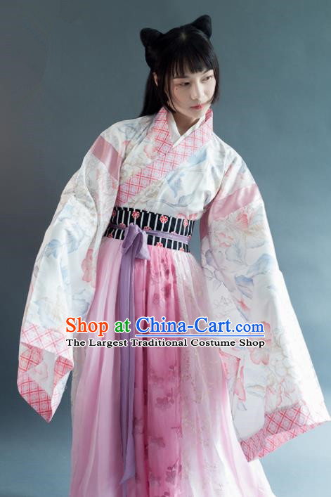 Chinese Traditional Jin Dynasty Young Lady Historical Costumes Ancient Princess Hanfu Dress for Women