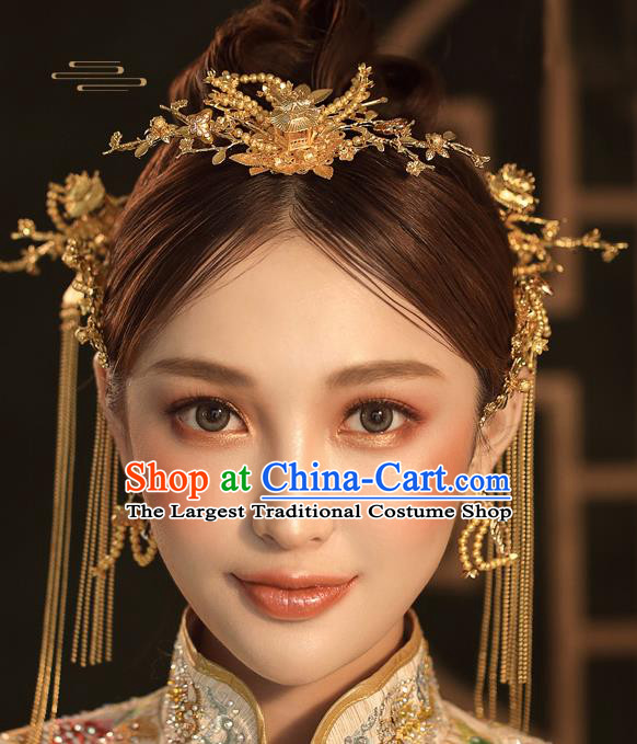 Chinese Ancient Palace Bride Golden Hair Crown Wedding Hair Accessories Tassel Hairpins Headwear for Women