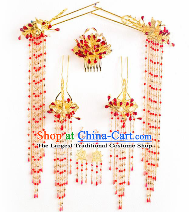 Chinese Ancient Palace Bride Hair Accessories Wedding Golden Phoenix Hairpins Headwear for Women