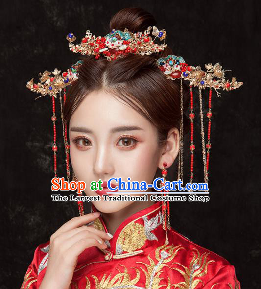 Chinese Ancient Palace Bride Hair Accessories Blueing Hair Comb Hairpins Headwear for Women