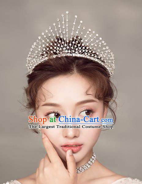 Top Grade Handmade Wedding Princess Hair Accessories Bride Zircon Royal Crown Headwear for Women