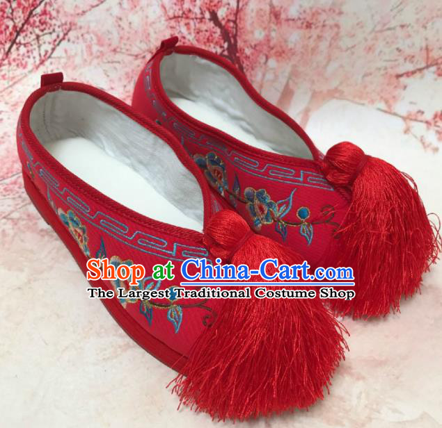 Traditional Chinese Shoes Wedding Shoes Ancient Princess Shoes Beijing Opera Embroidered Shoes for Women