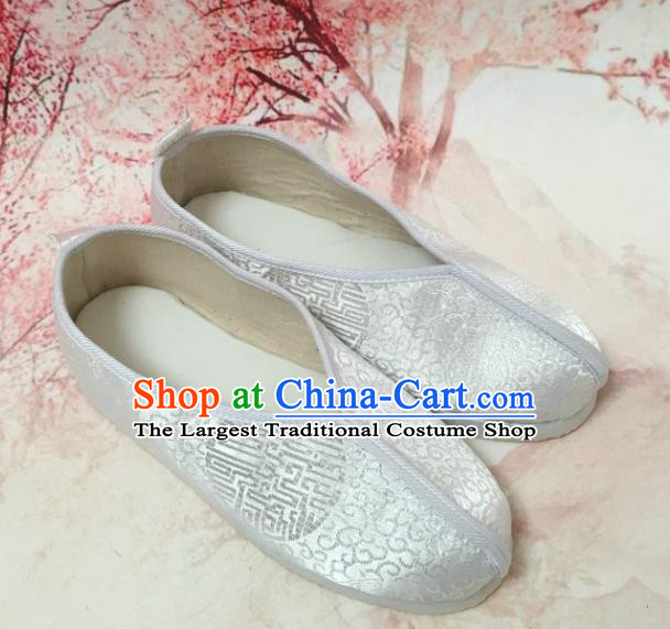 Traditional Chinese Shoes Wedding Shoes Ancient Princess Shoes White Satin Hanfu Shoes for Women