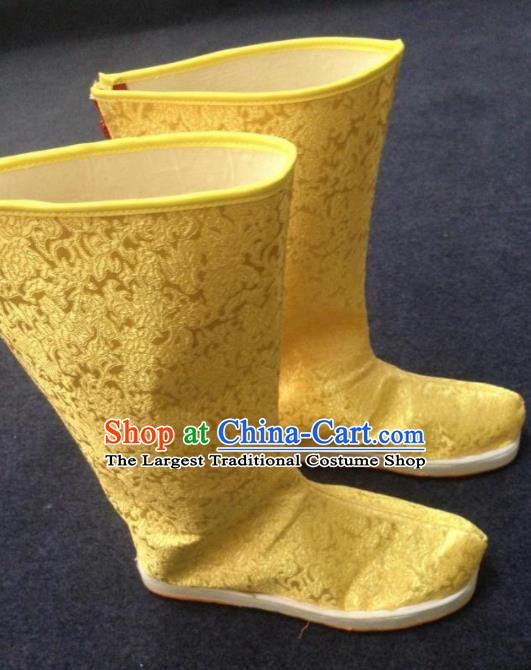 Chinese Traditional Shoes Ancient Emperor Beijing Opera Golden Boots Hanfu Satin Boots for Men