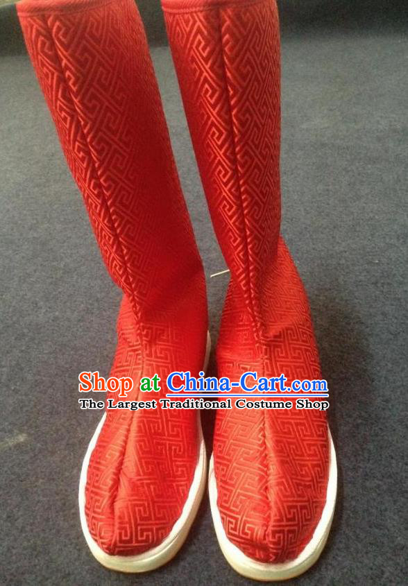 Chinese Traditional Shoes Ancient Emperor Beijing Opera Red Boots Hanfu Satin Boots for Men