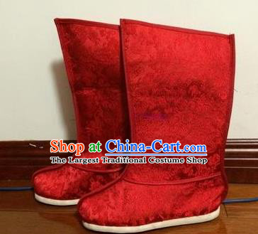 Chinese Traditional Shoes Beijing Opera Shoes Ancient Wedding Red Satin Boots for Men