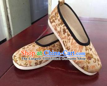Traditional Chinese Golden Shoes Ancient Princess Shoes Wedding Embroidered Shoes for Women