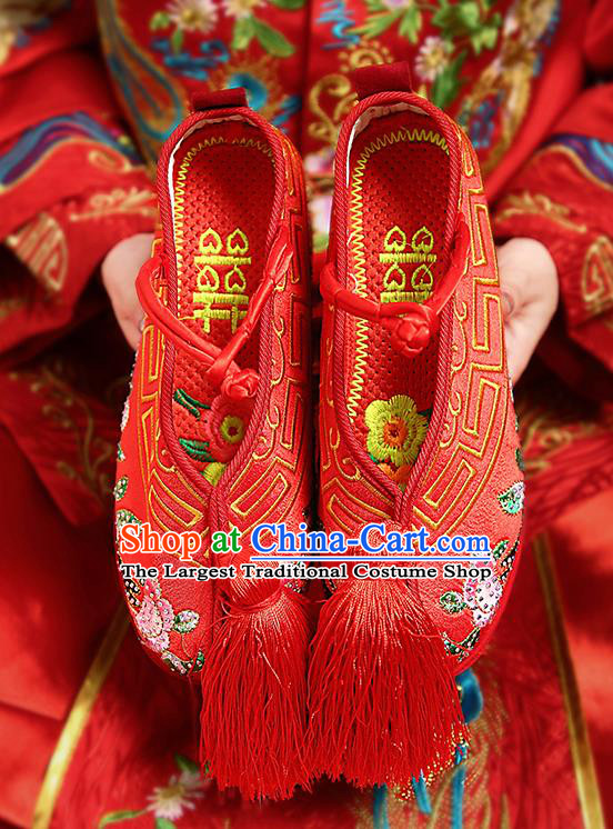 Chinese Shoes Wedding Shoes Opera Shoes Princess Shoes Hanfu Shoes Red Embroidered Shoes for Women