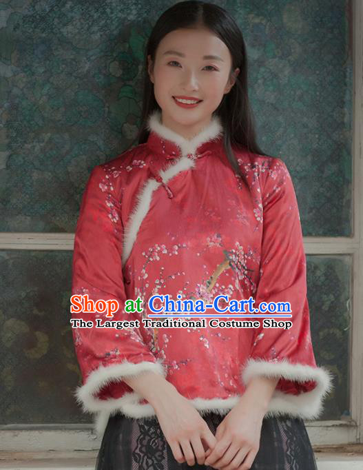 Chinese Traditional Costumes National Tang Suit Qipao Blouse Red Cotton Padded Jacket for Women