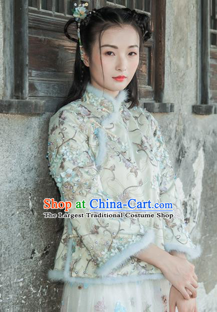 Chinese Traditional Costumes National Upper Outer Garment Qipao Cotton Wadded Jacket for Women