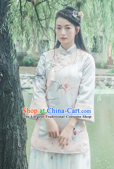 Chinese Traditional Costumes National Tang Suit Blouse Silk Qipao Shirt for Women