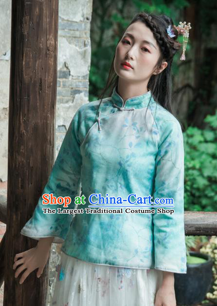 Chinese Traditional Costumes National Tang Suit Blouse Green Silk Qipao Shirt for Women