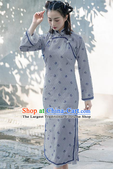 Chinese Traditional Costumes National Qipao Dress Classical Grey Cheongsam for Women