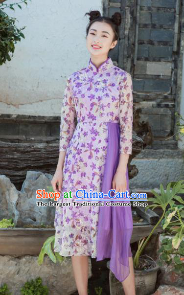 Chinese Traditional Tang Suit Costumes National Printing Purple Qipao Dress Classical Cheongsam for Women