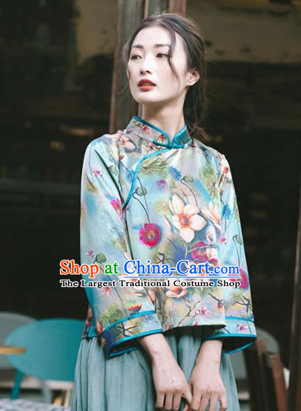 Chinese Traditional Costumes National Tang Suit Printing Green Silk Blouse Qipao Upper Outer Garment for Women