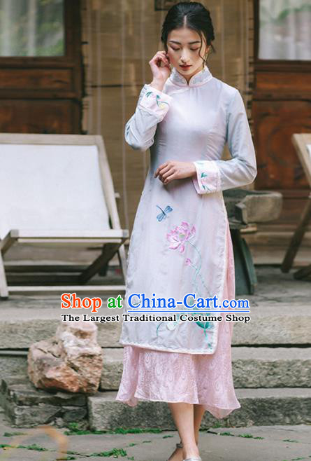 Chinese Traditional Costumes National Embroidered Lotus Qipao Dress Tang Suit Cheongsam for Women