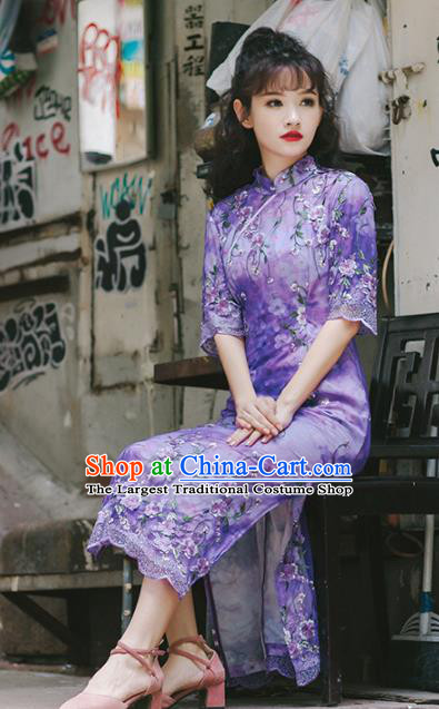 Chinese National Purple Qipao Dress Traditional Costumes Tang Suit Cheongsam for Women