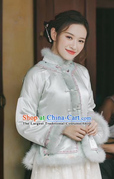 Chinese Traditional Costumes National Upper Outer Garment White Qipao Cotton Wadded Jacket for Women
