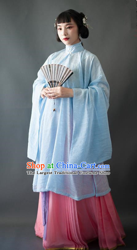 Chinese Traditional Ancient Ming Dynasty Historical Costumes Blue Blouse and Pink Skirt Complete Set for Women