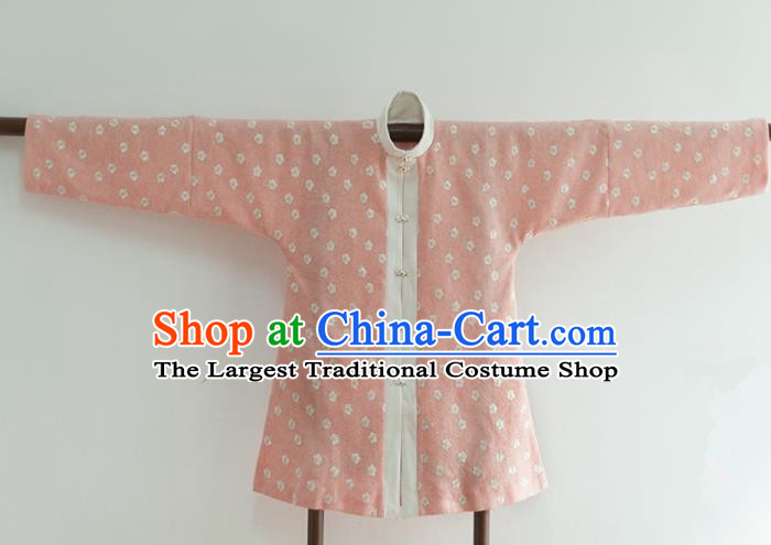 Chinese Ancient Ming Dynasty Historical Costumes Traditional Pink Blouse for Women