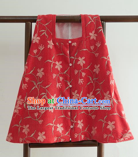 Chinese Ancient Ming Dynasty Historical Costumes Traditional Square Collar Red Vest for Women