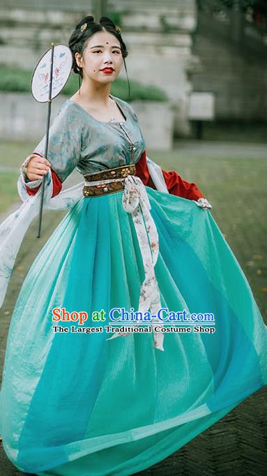Chinese Tang Dynasty Palace Lady Historical Costumes Ancient Traditional Court Maid Hanfu Dress for Women