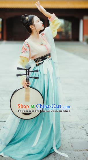 Chinese Tang Dynasty Court Maid Historical Costumes Ancient Peri Traditional Dance Hanfu Dress for Women