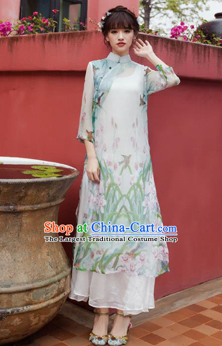 Chinese National Costumes Printing Silk Qipao Dress Traditional Tang Suit Cheongsam for Women