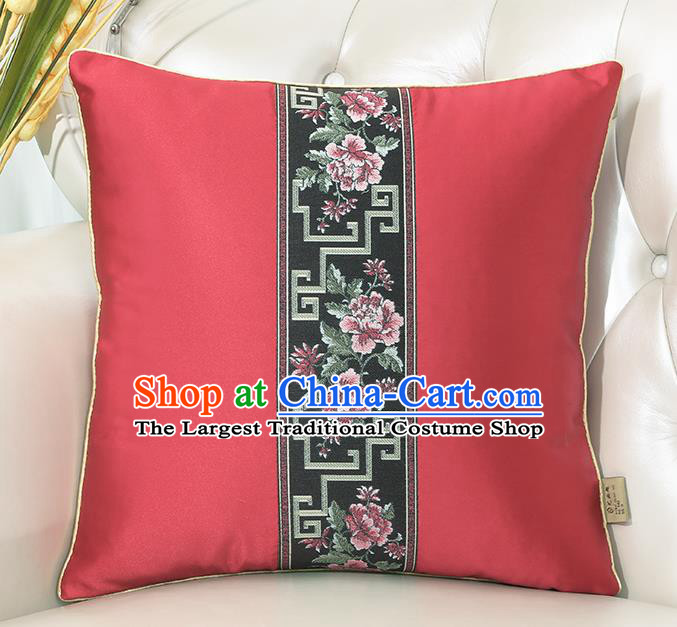 Chinese Classical Household Ornament Red Brocade Back Cushion Traditional Handmade Throw Pillow