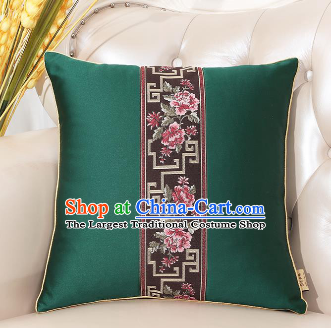 Chinese Classical Household Ornament Green Brocade Back Cushion Traditional Handmade Throw Pillow