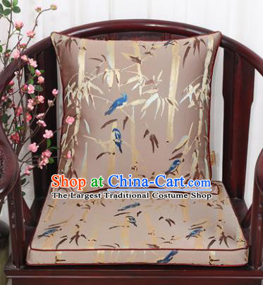 Chinese Classical Household Ornament Bamboo Pattern Khaki Brocade Back Cushion Cover and Armchair Mat