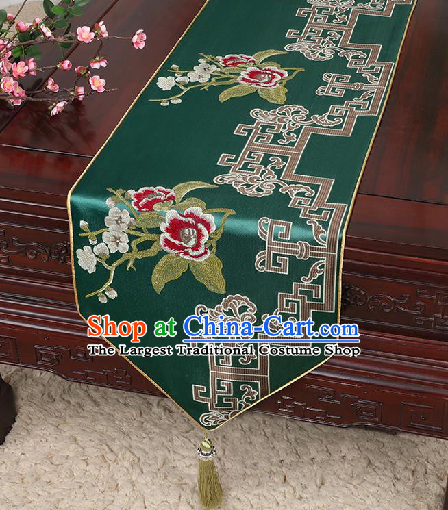 Chinese Classical Household Ornament Green Brocade Table Flag Traditional Handmade Embroidered Table Cloth