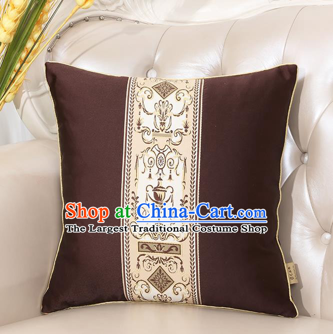 Chinese Classical Household Ornament Brown Brocade Back Cushion Traditional Handmade Throw Pillow