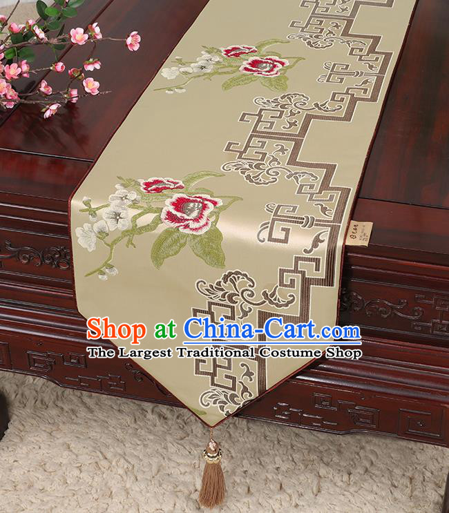 Chinese Classical Household Ornament Khaki Brocade Table Flag Traditional Handmade Embroidered Table Cloth