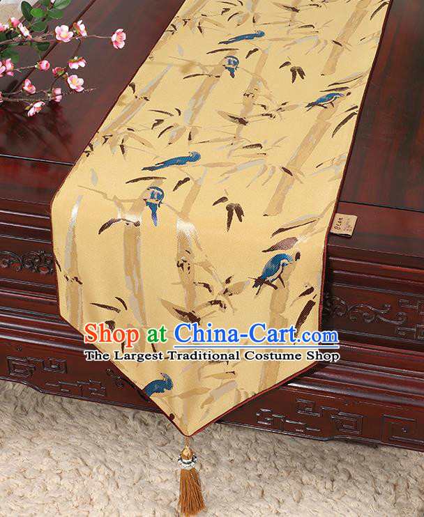 Chinese Classical Household Ornament Yellow Brocade Table Flag Traditional Handmade Bamboo Pattern Table Cloth
