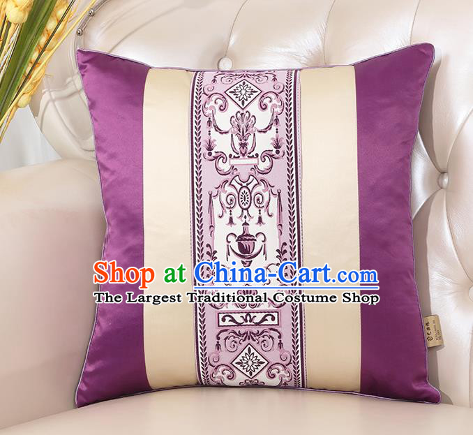 Chinese Classical Household Ornament Purple Brocade Back Cushion Traditional Handmade Throw Pillow