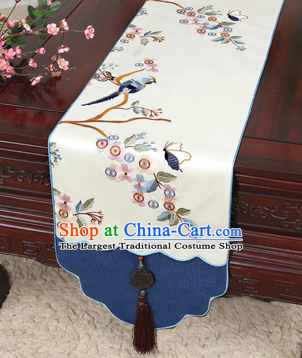 Chinese Classical Household Ornament Jade Pendant Tassel White Brocade Table Flag Traditional Handmade Table Cover Cloth