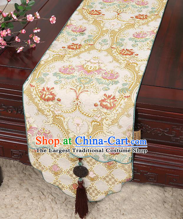 Chinese Classical Household Ornament Jade Pendant Tassel Brocade Table Flag Traditional Handmade Table Cover Cloth