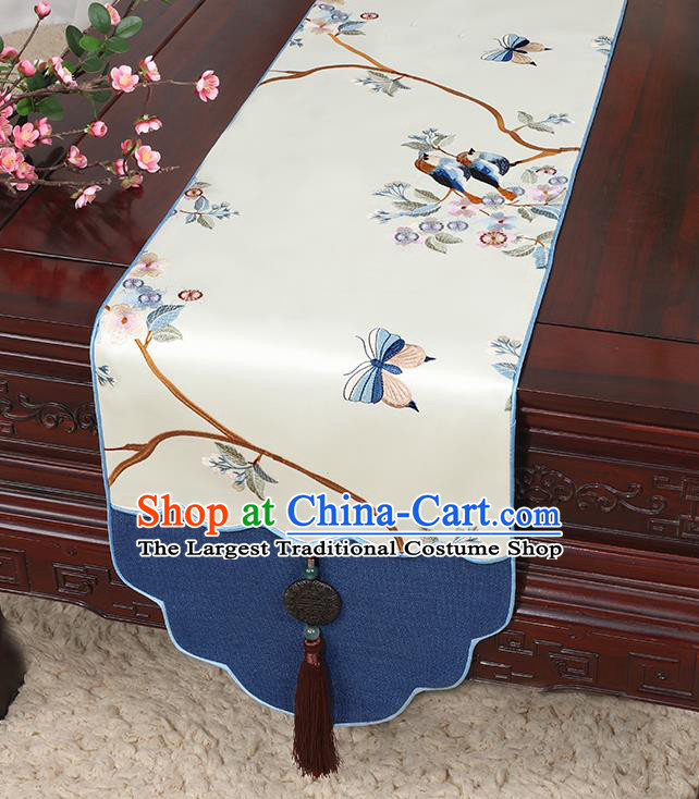 Chinese Classical Household Ornament Jade Pendant Tassel Beige Brocade Table Flag Traditional Handmade Table Cover Cloth