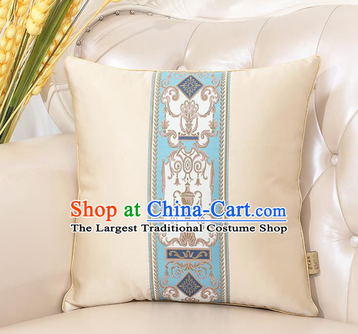 Chinese Classical Household Ornament White Brocade Back Cushion Traditional Handmade Throw Pillow