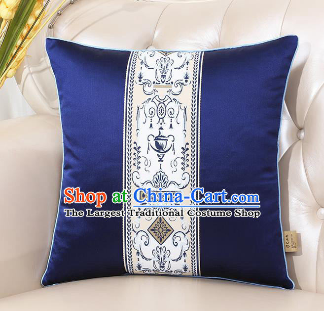Chinese Classical Household Ornament Royalblue Brocade Back Cushion Traditional Handmade Throw Pillow